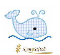 whale applique machine embroidery design by FunStitch on Etsy, $2.00