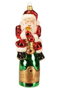 Nordstrom at Home 'Santa Champagne' Handblown Glass Ornament available at #Nordstrom