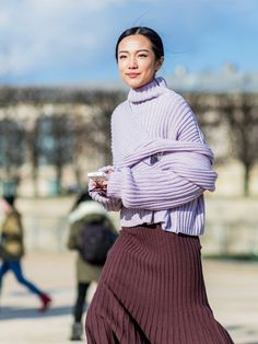 Knit it good!:  pleated pale lavendar jumper / pleated chocolate skirt ...  (image from whowhatwear)