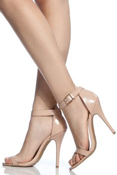 Nude Faux Patent Leather Single Sole Ankle Strap Heels @ Cicihot Heel Shoes online store sales:Stiletto Heel Shoes,High Heel Pumps,Womens High Heel Shoes,Prom Shoes,Summer Shoes,Spring Shoes,Spool Heel,Womens Dress Shoes