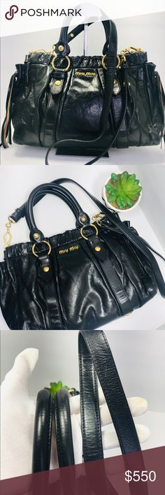 285504c783eb Authentic Miu Miu Black Tassel Leather ShoulderBag Authentic Pre-Loved Miu  Miu Black Tassel Tote