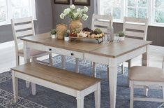 Dining Table With Storage, Dining Set With Bench, Farmhouse Dining Room Table, Dining Room Table Decor, Daining Table, White Farmhouse Table, Dinning Room Sets, White Dining Set, Kitchen Tables