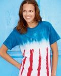 This patriotic, tie-dyed t-shirt makes a statement. With its conservative dying and iconic pattern, it is the perfect addition to any wardrobe. Classic, but playful, this shirt is a must have.