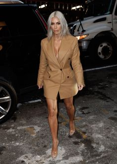 Kim Kardashian West, Rihanna, and Victoria Beckham Were Among the Best Dressed Stars at New York Fashion Week - Kim Kardashian West in Vivienne Westwood - Kim Kardashian Blazer, Estilo Kardashian, Looks Kim Kardashian, Kardashian Style, Kardashian Kollection, Style Kim K, My Style, Blazer Outfits, Blazer Dress