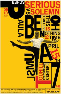 I'm not sure if this design was done by Paula Scher. I believe it was a tribute to Paula Scher's style and legacy. I see that it has some alignment issues but it has an excellent use of negative space. Paula Scher, Poster Design, Graphic Design Posters, Print Design, Graphic Designers, Typographic Poster, Typographic Design, Web Design, Layout Design