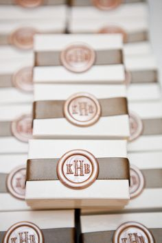 Wax seal favor boxes.