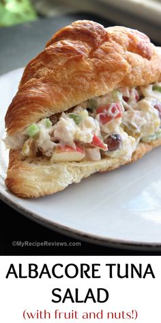 Delicious tuna salad with apples, pineapples, celery, golden raisins and almonds. #MyRecipeReviews #tunasalad #sandwiches Seafood Recipes, My Recipes, Favorite Recipes, Tuna Salad, Sliced Almonds, Wrap Sandwiches, Food Reviews, Fresh Lemon Juice, Food To Make