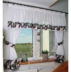 Komplet biały czarny kwiaty Living Room Decor Curtains, Kitchen Window Curtains, Kitchen Curtain Sets, Living Room Tv, Blackout Curtains, Valance Curtains, Drapery, Kitchen Decor, Shabby Chic