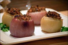 Hazlenut and Bulgar Stuffed Onions - raisins - garlic - lemon - parsley - allspice, other seasonings (looks totally doable!)