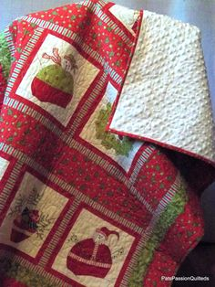 Patchwork Christmas Lap Quilt, Throw Quilt or Wall Hanging Traditional Reds Greens with Minky Backing