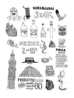 Mexico - Illustration réalisée par François Pellan - Numérotée et signée - 18 x 24 cm - Tirage limité à 30 ex. - En exclusivité chez L'illustre Boutique