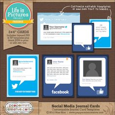 Life in Pictures: Social Media Journal Cards - It's Free! : Peppermint Creative, Digital Scrapbook Supplies