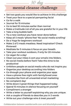 Mental cleanse challenge