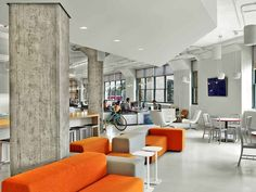 Arnold Worldwide office by TPG Architecture, New York City office. Collaborative spaces, concrete