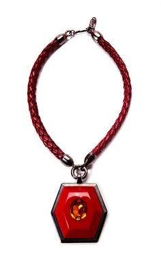 Shop Yves Saint Laurent Red Topaz Pendant Necklace by House of Lavande Now Available on Moda Operandi