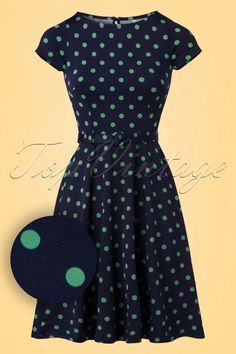 King Louie 60s Betty PartyPolka Dress in Nuit Blue