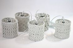 Crochet lighting Garland gray crochet hanging lighting by ooty