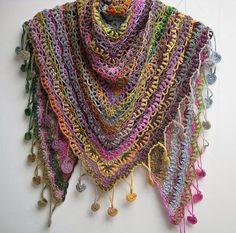 Gorgeous crocheted in Lang Yarns Mille Colori Baby yarn >> Ravelry: fanalaine's Berry Shawl Encerclé --Porcelain Berry Shawl by Elena Fedotova from Bubble Birds Poncho Au Crochet, Crochet Diy, Crochet Shawls And Wraps, Crochet Motifs, Crochet Scarves, Crochet Clothes, Crochet Stitches, Crochet Hooks, Crochet Patterns