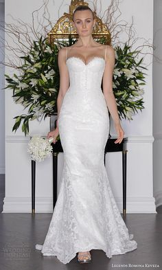 legends romona keveza fall 2016 elegant lace wedding dress spaghetti straps corset bodice