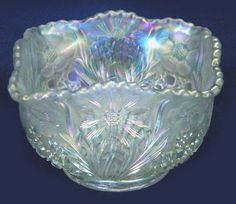4.75 in. sq. white U.S. Glass-COSMOS & CANE bowl.$130. 11-12 Seeck Auction.