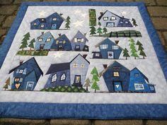 Grit's Life: Blogger`s Quilt Festival Blue houses quilt.
