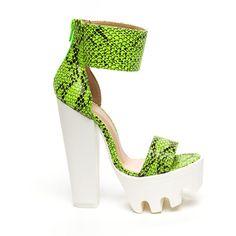 Snakeskin Handler Platform Heels ($40) ❤ liked on Polyvore