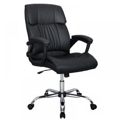 Mid Back Office Chair PU Leather Desk Chair Task Computer Chair Rolling Swivel Adjustable Stool Executive Chair with Lumbar Support Armrest for Women&Men, Black