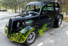 Airbrushed Green True Fire over Black. Ford Anglia, Custom Airbrushing, Air Brush Painting, Custom Paint, Fire, Baseboards, Moulding, Gallery, Green