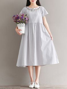 Vintage Embroidered Drawstring Short Sleeve Dresses Shopping Online - NewChic Mobile.