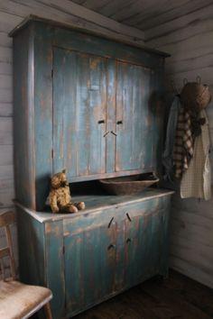 Awesome blue step back cupboard Primitive Furniture, Decor, Country Furniture, Painted Furniture, Primitive Decorating, Furniture, Primitive Cabinets, Blue Cupboards, Vintage Furniture