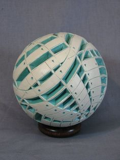 Carved Turquoise & White Sphere
