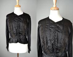 41af054a3ad0b Vintage Edwardian Black Silk Blouse    by OffBroadwayVintage Black Silk  Blouse