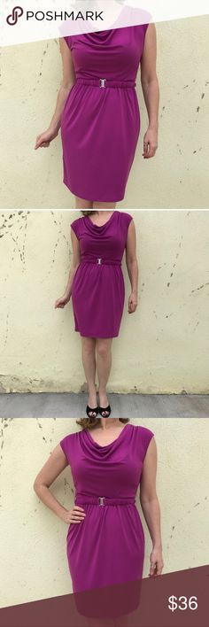 """FUCHSIA pink DRESS belted sheath sz M/L MIDI cowl Gorgeous fuchsia pink cowl neck draped sheath dress! With matching elastic belt. Jersey stretch with a nice sheen to the fabric. So flattering! 19"""" bust flat across, elastic waist ranges from 13"""" to 18"""" flat across. Fits M/L.  (11.5) Max & Cleo Dresses Midi"""