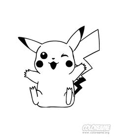 pokemon pickachu smiling coloring page printables for kids free word search puzzles coloring pages and other activities