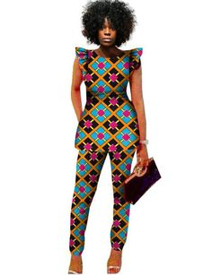 2 Piece Sets Women African Print Dashiki Top and Pants Sets Plus Size – Owame African Fashion Ankara, African Fashion Designers, African Print Fashion, Africa Fashion, African Print Jumpsuit, African Print Dresses, African Dress, Afro, African Attire