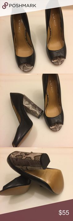 """Nine West Open Toe Pumps Nine West Open Toe Pumps with Snake Skin Heels in excellent preowned condition. Please take a look👀 at pictures before purchasing. Size:5.5  Heel::4"""" Nine West Shoes Heels"""