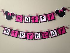 Your childs birthday party will be the Talk of the Town with this Minnie Mouse inspired birthday banner!   This order is for a Minnie Mouse