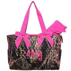 Personalized Diaper Bag Camouflage Mossy Oak Pink Quilted 2 pc Monogrammed