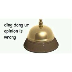 ding dong ur opinion is wrong Dankest Memes, Funny Memes, Hilarious, Reaction Pictures, Funny Pictures, Lol, Ding Dong, Oui Oui, Me Too Meme