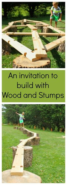 A simple invitation to build big and create with wood. Balance beams, boats - you name it. Great for heavy work and gross motor development, plus just plain old outdoor fun! DIY Playground for kids Kids Outdoor Play, Outdoor Play Spaces, Outdoor Learning, Outdoor Fun, Outdoor Activities, Summer Activities, Gross Motor Activities, Outdoor Toys, Outdoor Games