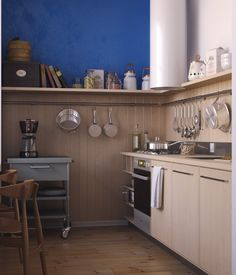 Apartments:Modern Apartments: Small Space And Beautiful Design Small Kitchen Design Blue Wall Hardwood Flooring Two Wooden Dining Chairs Kitchen Utensils Hanging On The Walls