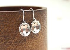 Handmade mixed metal concave disc earrings by JaneFullerDesigns