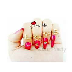 $1.99 4Pcs/Set Fashionable Nail Ring Letter LOVE Design Knuckle Ring - BornPrettyStore.com
