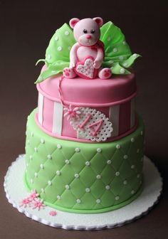 Cake by Cake Central Happy Birthday Cake Images, First Birthday Cakes, Birthday Cake Girls, Fondant Cakes, Cupcake Cakes, Bithday Cake, Green Bear, Teddy Bear Cakes, New Cake