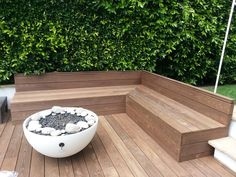 California This Bench Made Out Of Thermory Decking Makes For A Built In Seating Solutions Fo. Deck Seating, Built In Seating, Garden Seating, Garden Table, Decking Boards, Trex Decking, Modern Deck, Wooden Garden Planters, Timber Deck