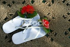 Kiwiana Summer, Jandals & Pohutakawa Flower Royalty Free Stock Photo