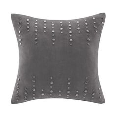 Add style to your home with this bold square stud suede pillow. The luxurious suede creates a soft look, while the trickle of studs give a bold pop of style. Comes in a cool grey, this accent piece is an easy addition to your current décor. Hidden zipper closure, 95% feather 5% down filling provides a quality and comfort.