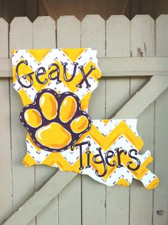 Hey, I found this really awesome Etsy listing at https://www.etsy.com/listing/242228917/lsu-louisiana-wooden-door-hanger-geaux