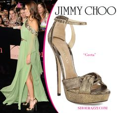 "Nikki Reed in Jimmy Choo ""Greta"" Lame Platform Sandals"
