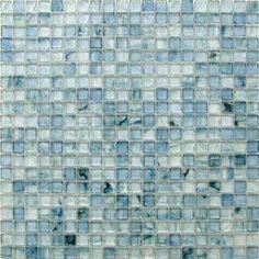"HotGlass - Bohemia - 5/8"" x 5/8"" Glass Tile in Azul 12 7/8"" x 12 7/8"" Paper Faced Sheets"